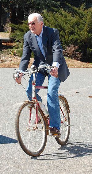 Jimmy Carter on bicycle. Plains, Georgia, USA, on President's Day 2008. Photo by Jud McCranie
